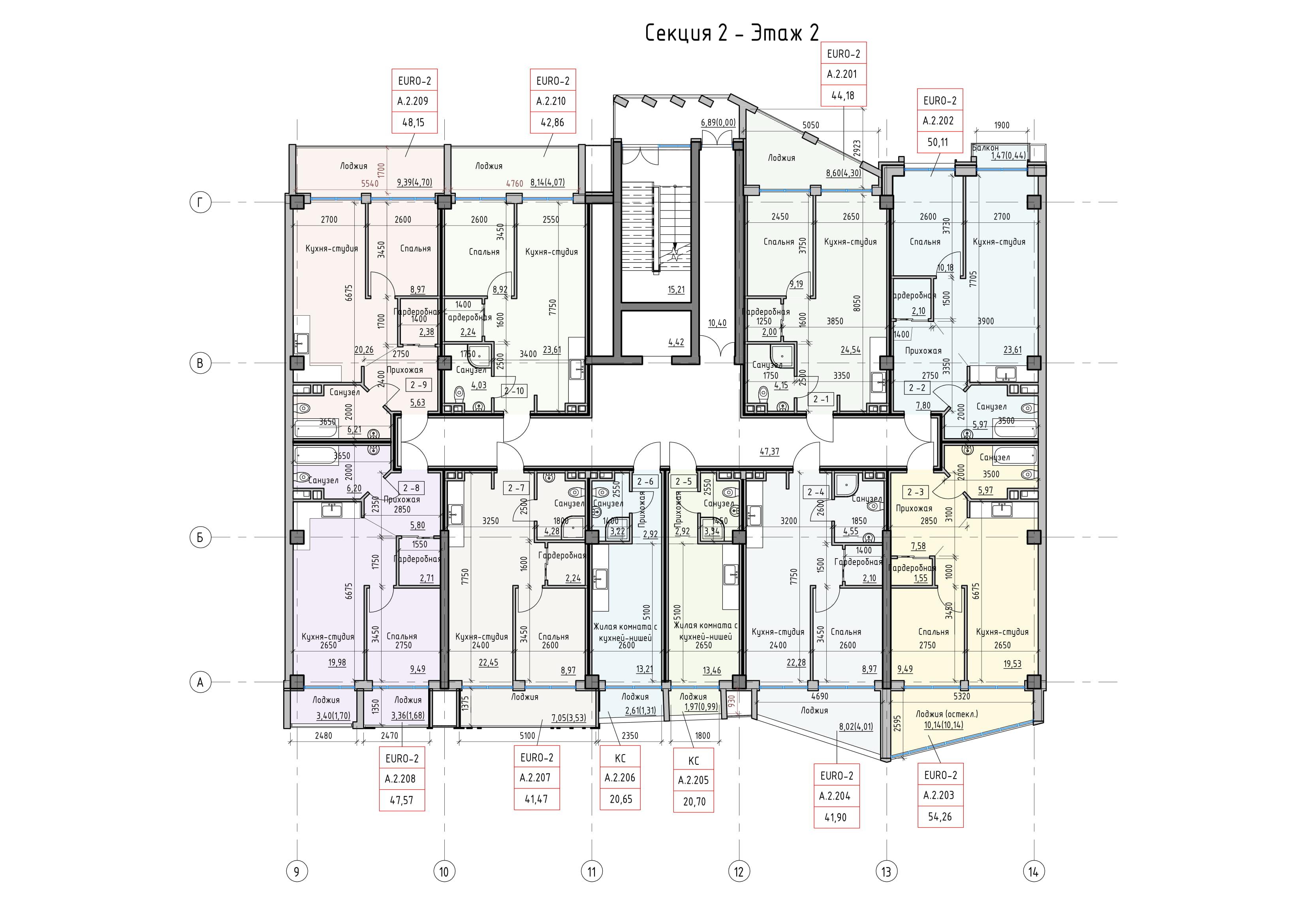 Пространство на Донского Корпус А Секция 2 план 2 этажа