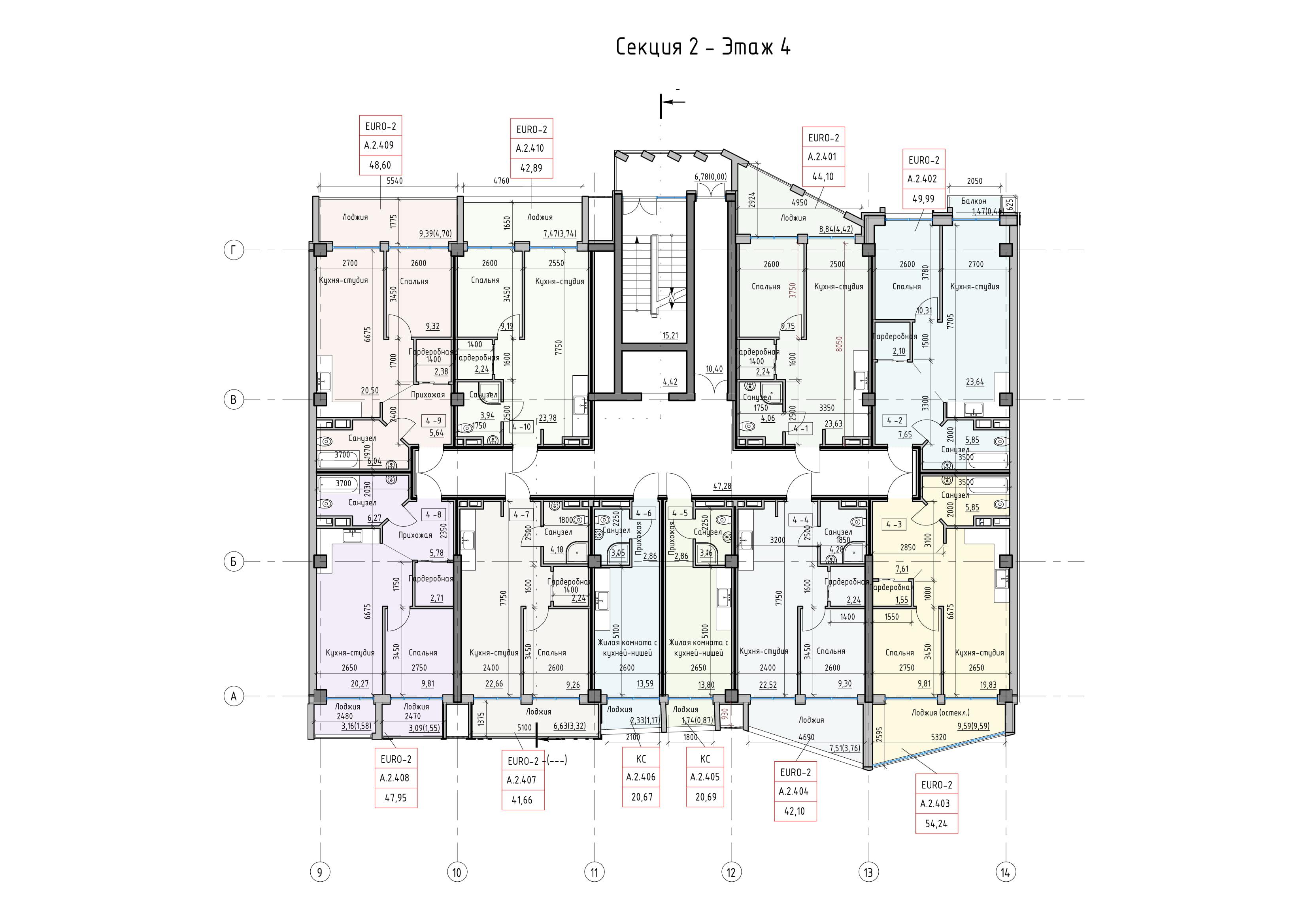 Пространство на Донского Корпус А Секция 2 план 4 этажа