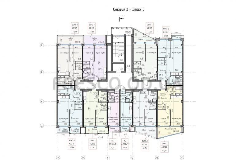 Пространство на Донского Корпус А Секция 2 план 5 этажа