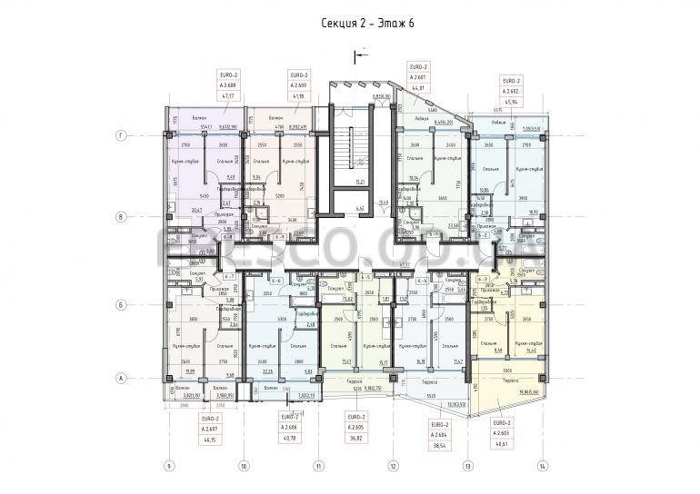 Пространство на Донского Корпус А Секция 2 план 6 этажа