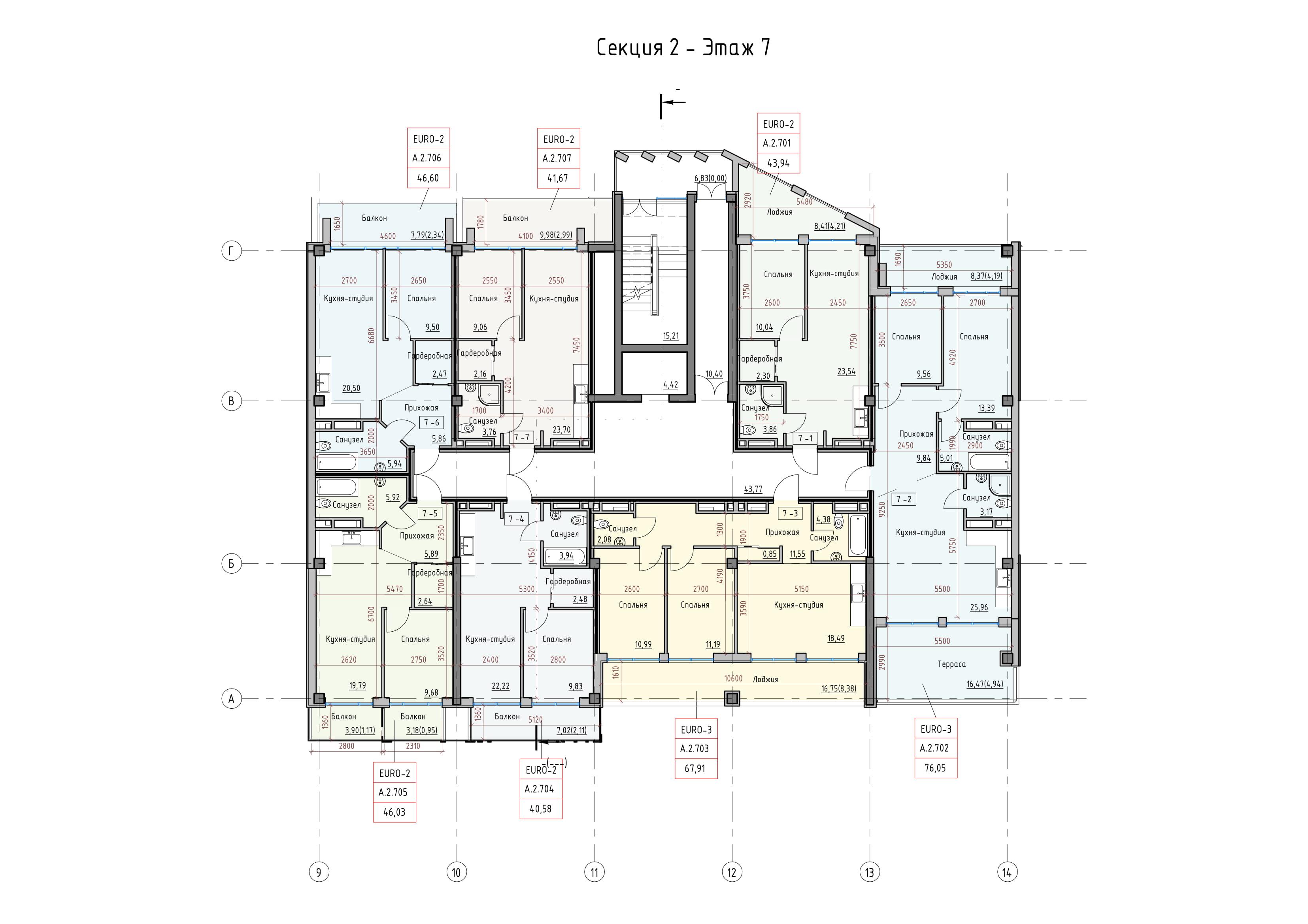 Пространство на Донского Корпус А Секция 2 план 7 этажа