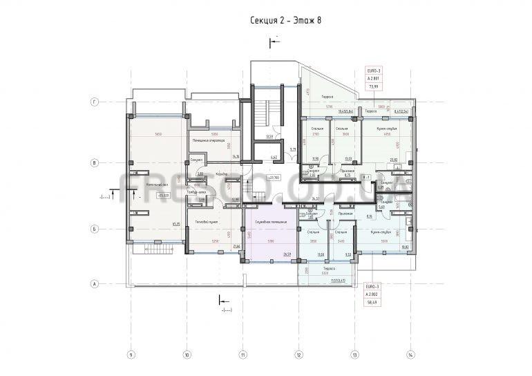 Пространство на Донского Секция 2 план 8 этажа