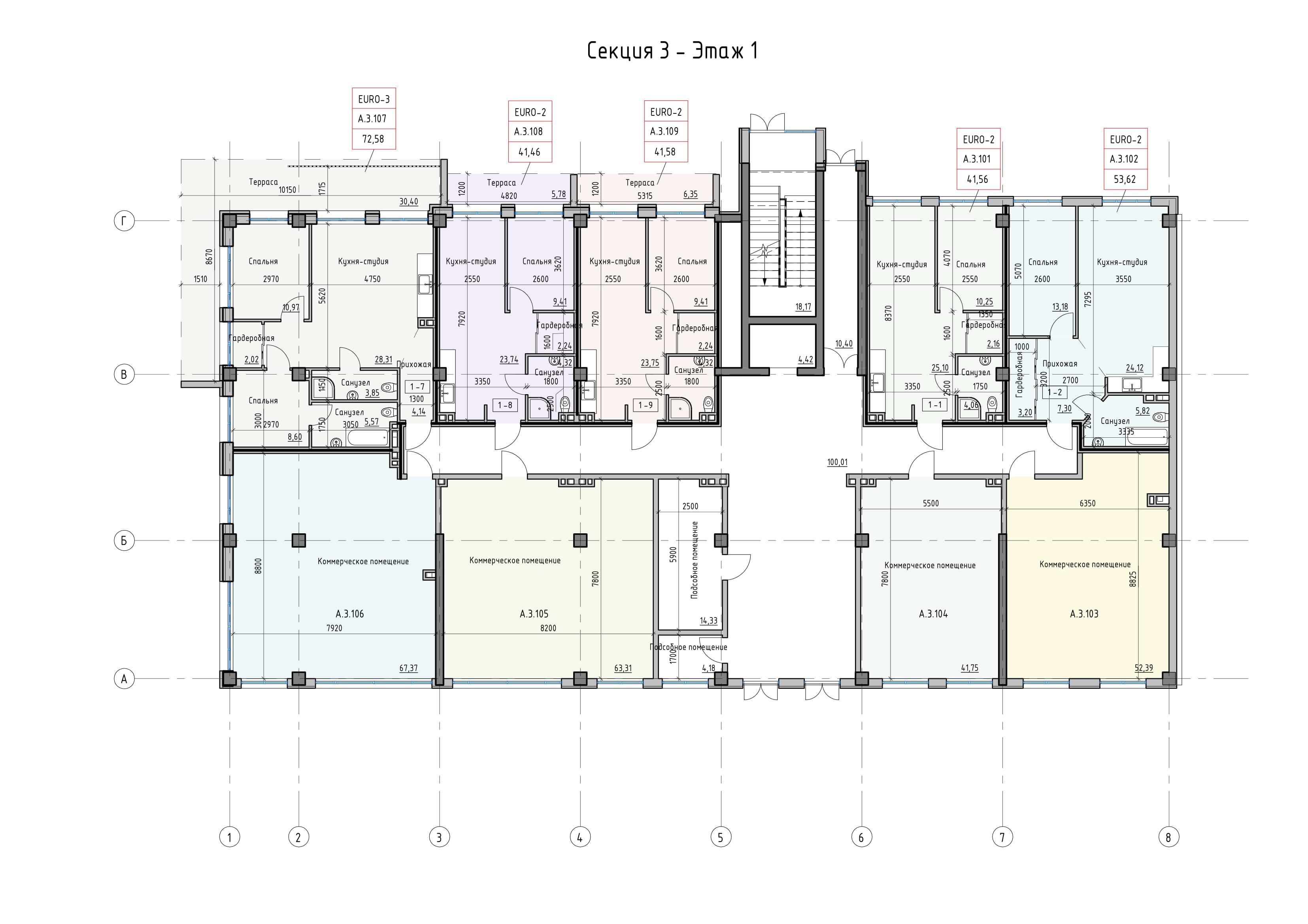 Пространство на Донского Корпус А Секция 3 план 1 этажа