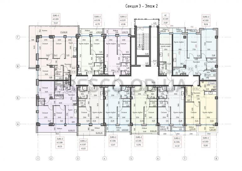 Пространство на Донского Корпус А Секция 3 план 2 этажа