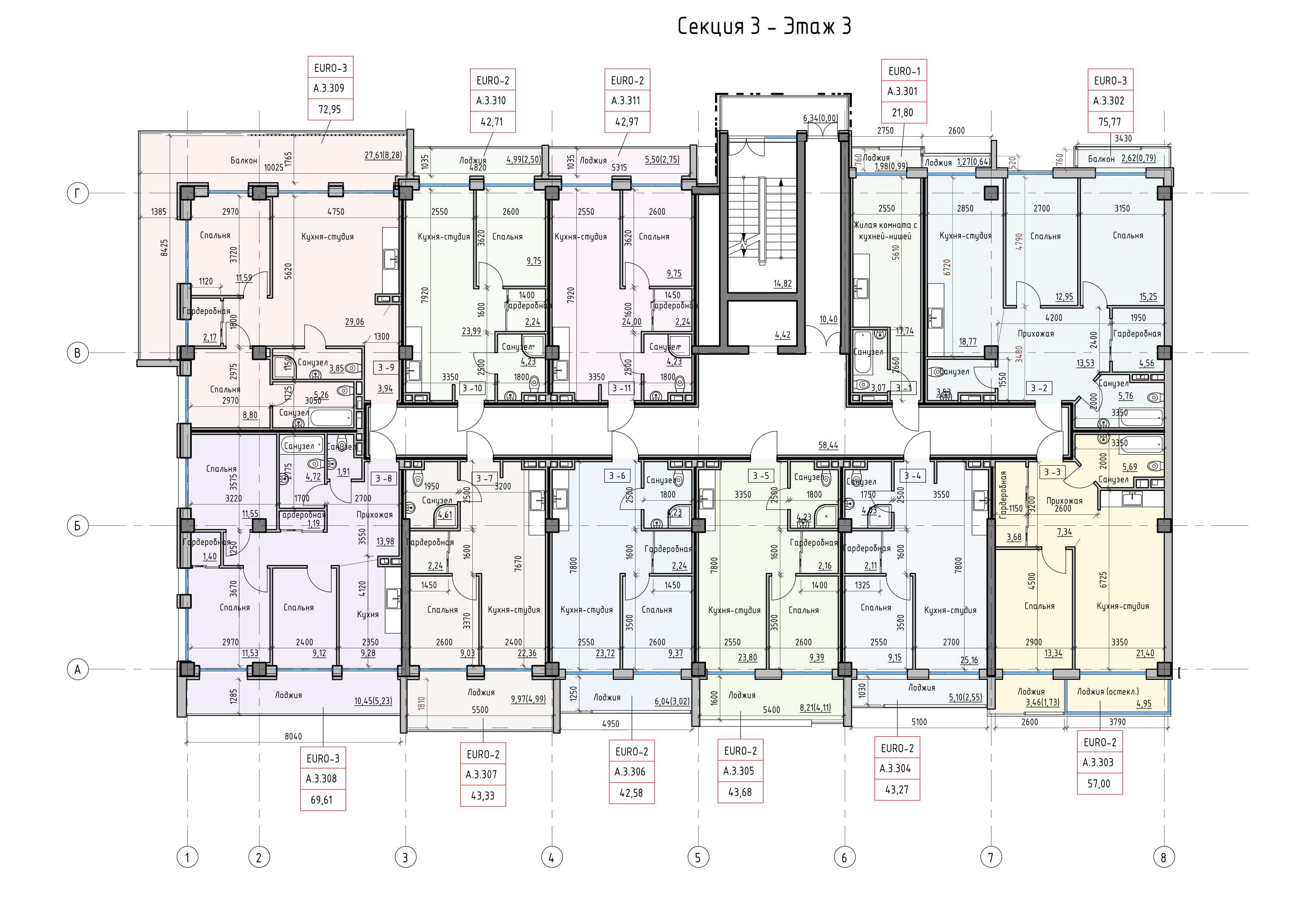 Пространство на Донского Корпус А Секция 3 план 3 этажа