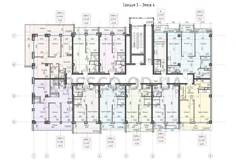 Пространство на Донского Корпус А Секция 3 план 4 этажа