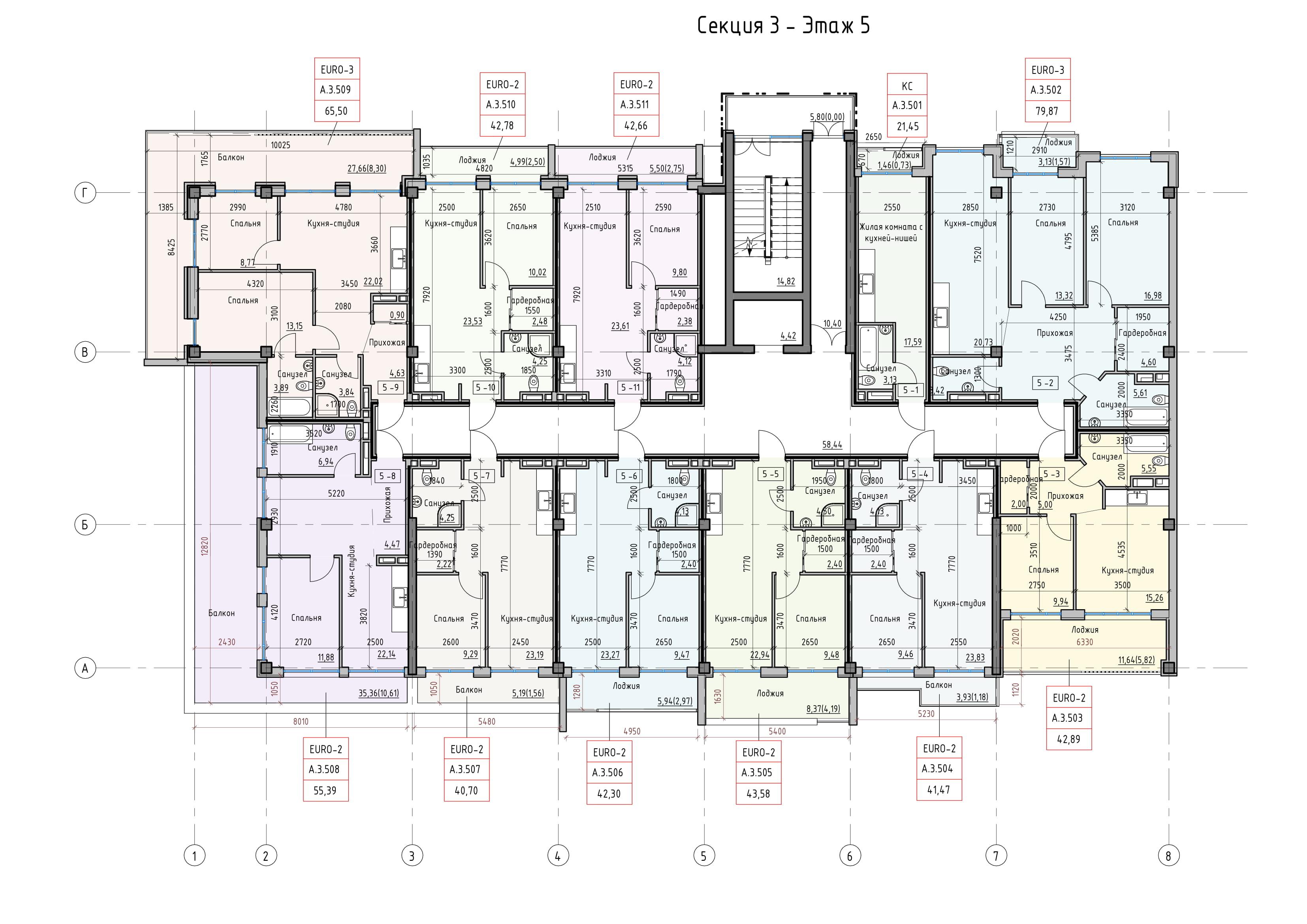 Пространство на Донского Корпус А Секция 3 план 5 этажа