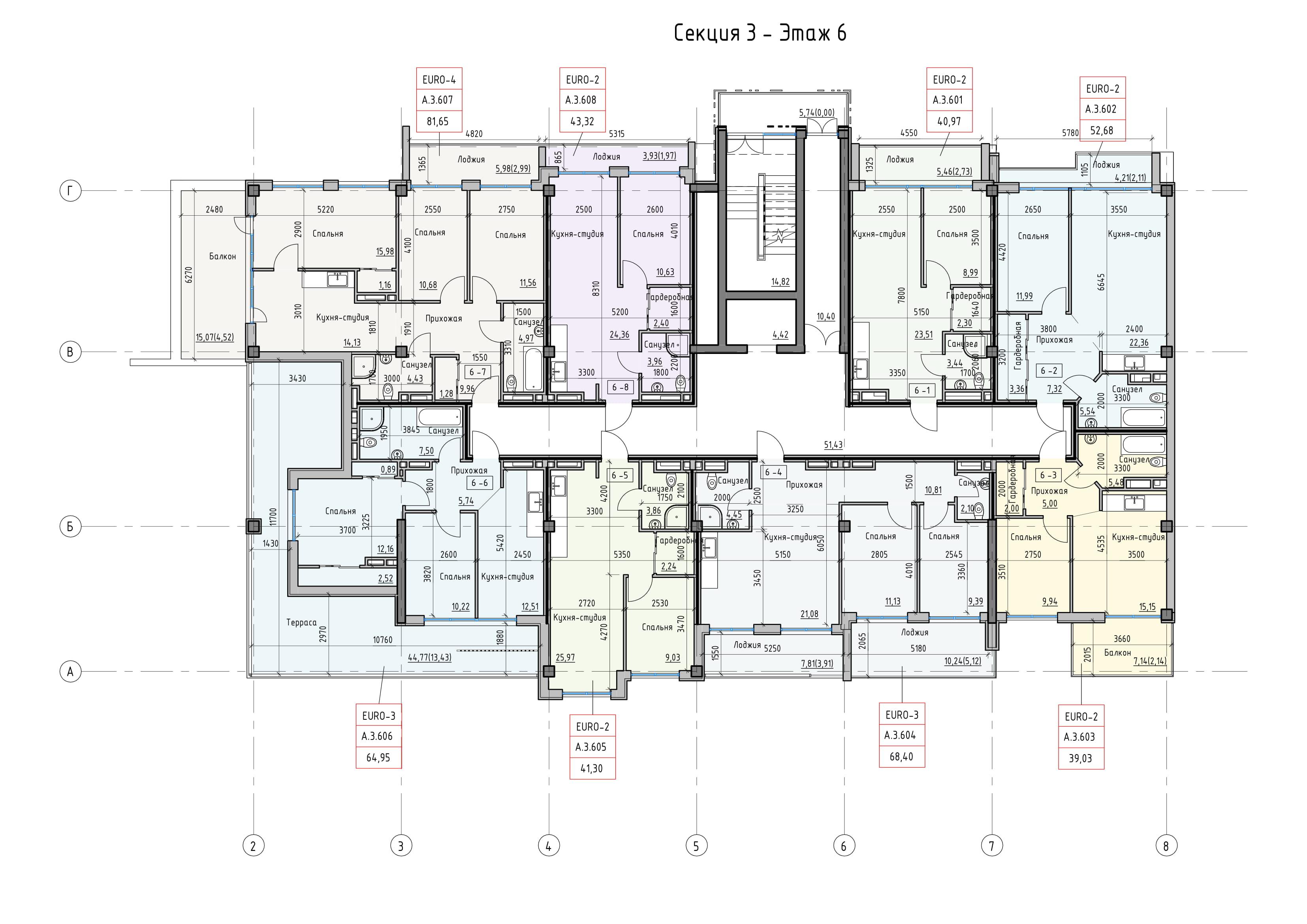 Пространство на Донского Корпус А Секция 3 план 6 этажа