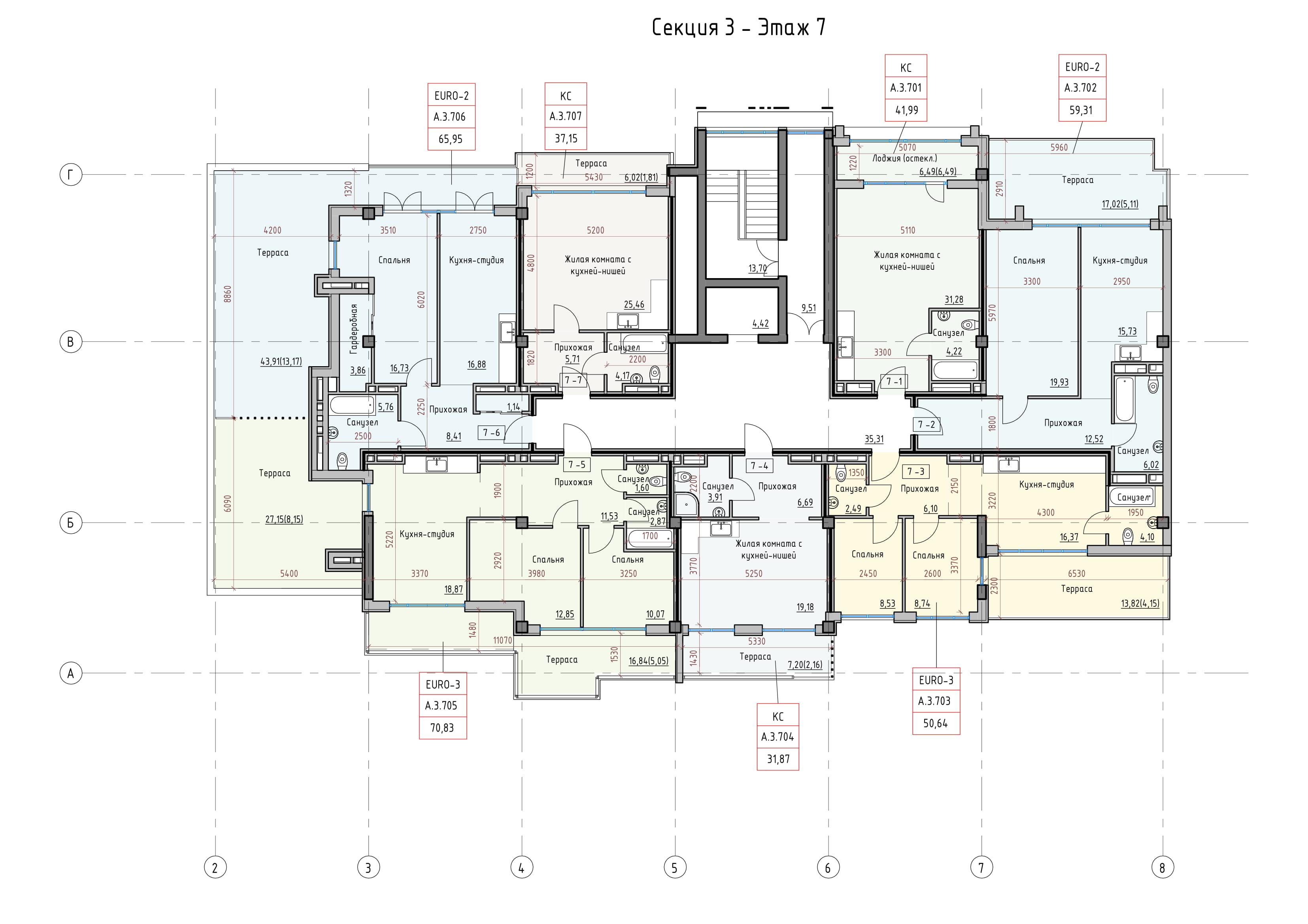Пространство на Донского Корпус А Секция 3 план 7 этажа