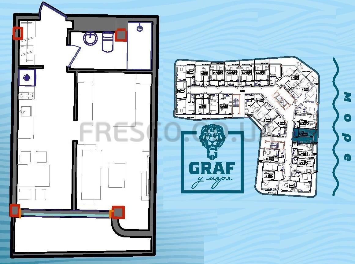 Однокомнатная - ЖК Graf у моря (Граф у моря)$47925Площадь:35,5m²