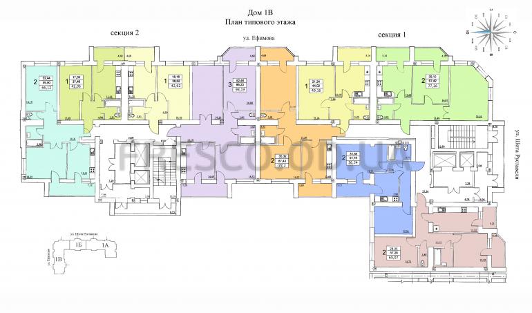 ЖК на Ефимова план типового этажа 3 секция
