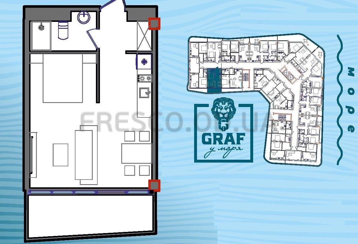 Однокомнатная - ЖК Graf у моря (Граф у моря)$51240Площадь:42,7m²