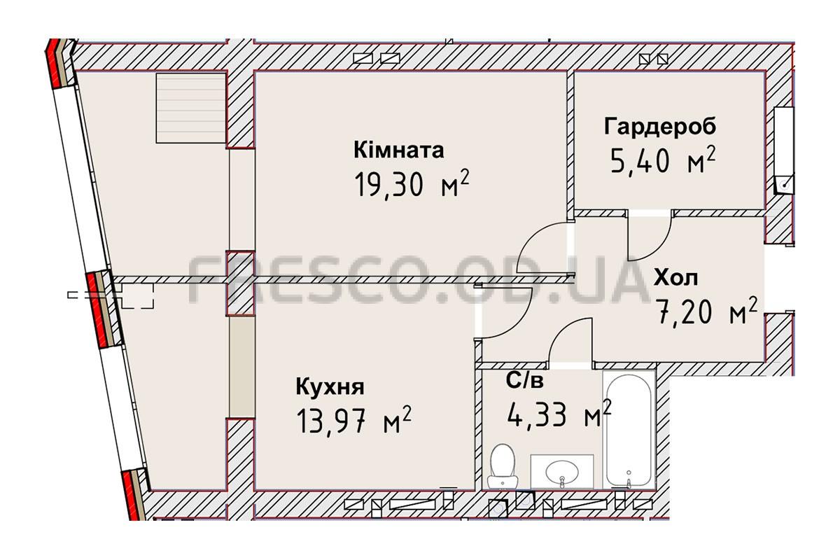 Однокомнатная - ЖК Чайка Люкс$30002Площадь:50,2m²