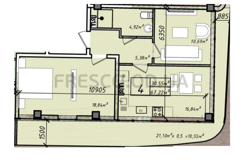 Двухкомнатная - ЖК Graf у моря (Граф у моря)$97469Площадь:67,22m²