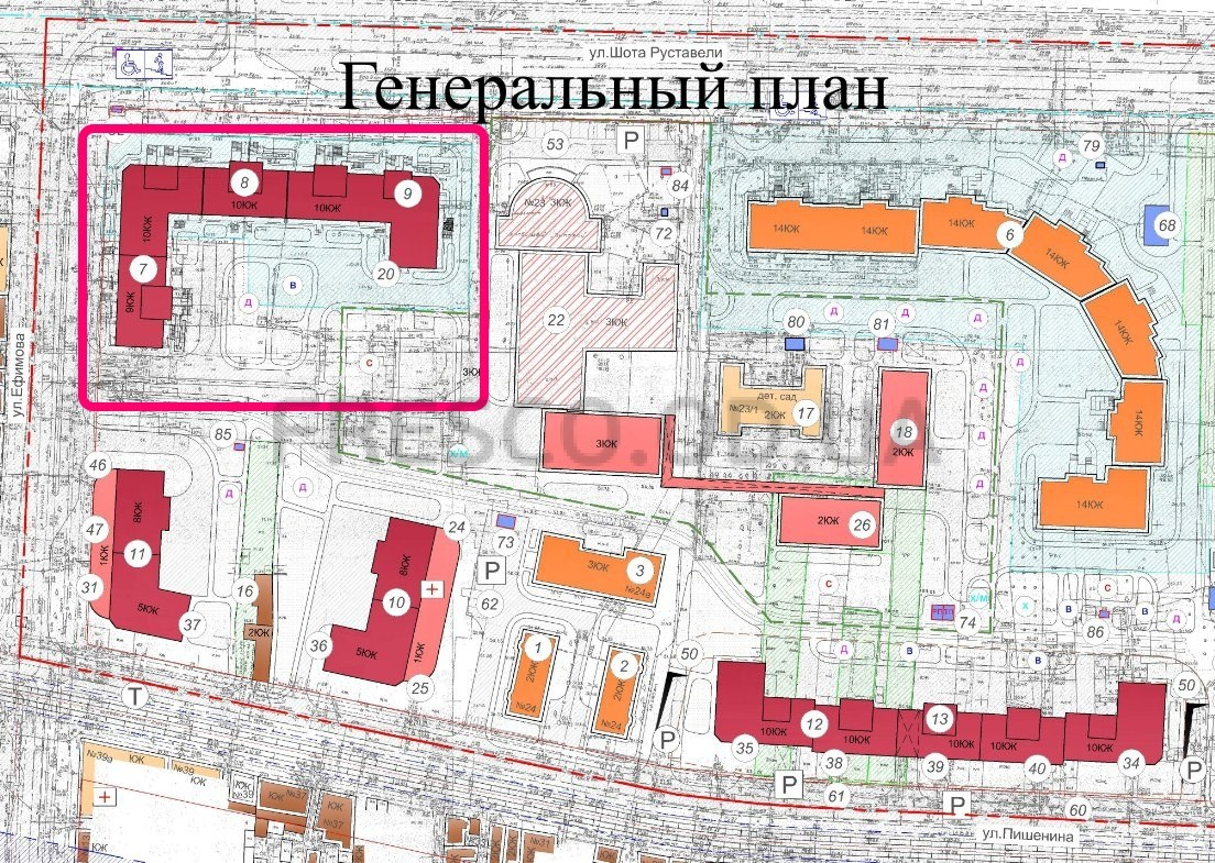 ЖК на Ефимова генплан