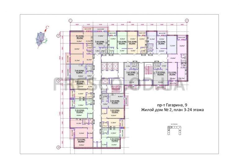 Будова Гагарина, 9 (Пивзавод) Дом 2 план этажа
