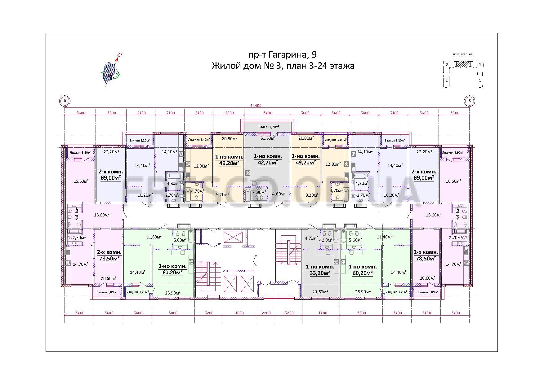 Будова Гагарина, 9 (Пивзавод) Дом 3 план этажа