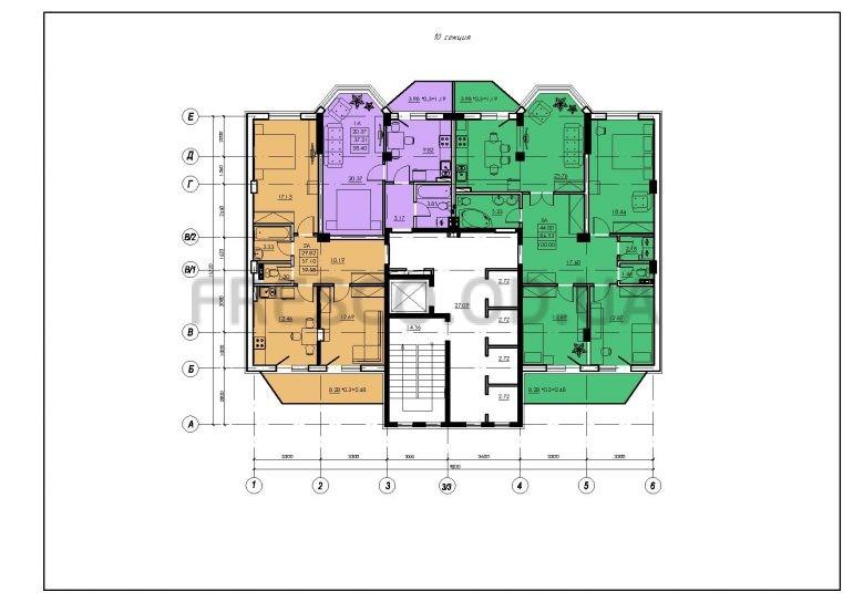 ЖК VENTUM (Вентум) 10 секция план типового этажа