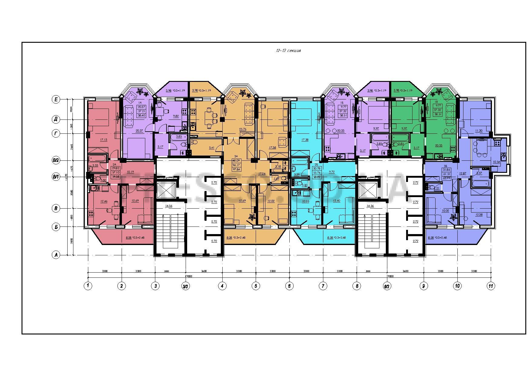 ЖК VENTUM (Вентум) 12-13 секция план типового этажа