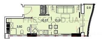 Однокомнатная - ЖК Unity Towers (Юнити Тауэрс)ПроданаПлощадь:30,44m²