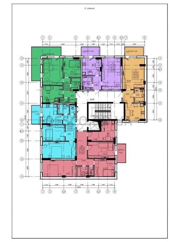 ЖК VENTUM (Вентум) 4 секция план типового этажа