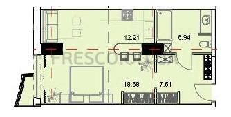 Однокомнатная - ЖК Unity Towers (Юнити Тауэрс)$41997Площадь:46,15m²