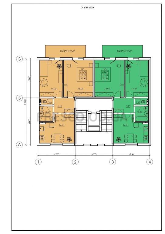 ЖК VENTUM (Вентум) 5 секция план типового этажа