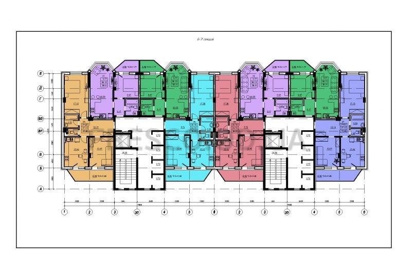 ЖК VENTUM (Вентум) 6-7 секция план типового этажа