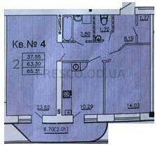 Двухкомнатная - ЖК Теплый дом$35847Площадь:64,68m²
