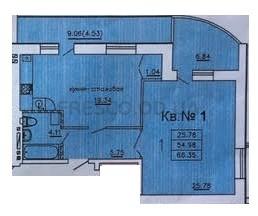 Однокомнатная - ЖК Теплый дом$39973Площадь:70,6m²