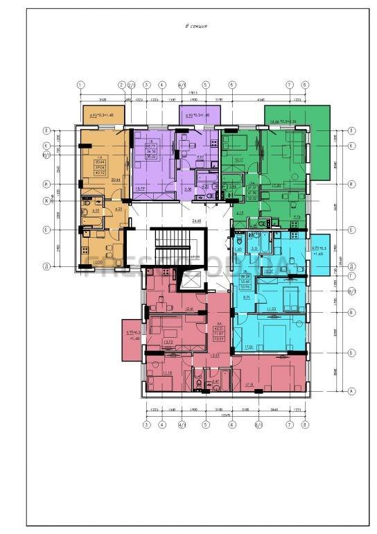 ЖК VENTUM (Вентум) 8 секция план типового этажа