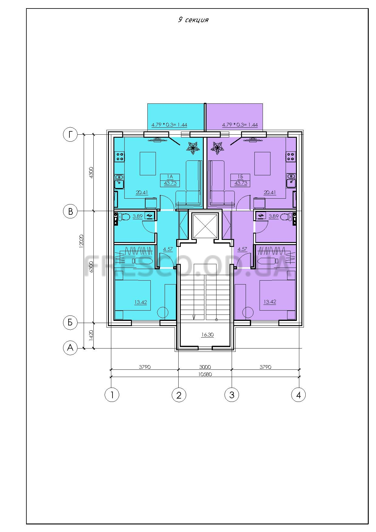ЖК VENTUM (Вентум) 9 секция план типового этажа