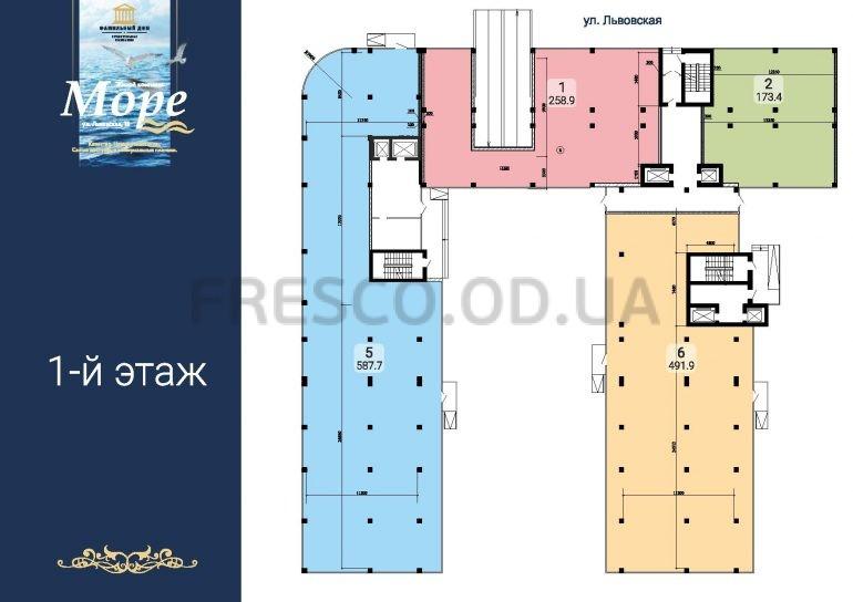 ЖК Море секции 1,3,4 план 1 этажа