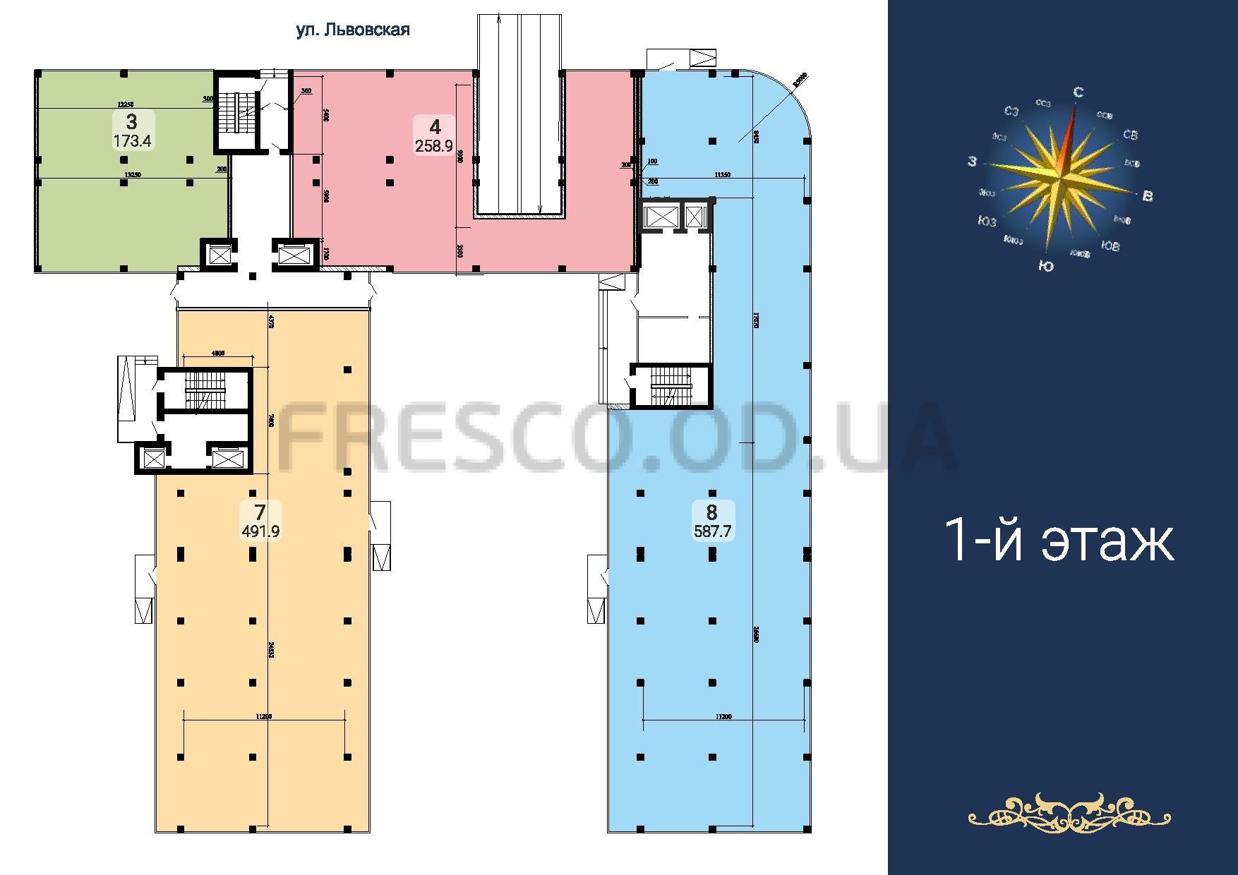 ЖК Море секции 2,5,6 план 1 этажа