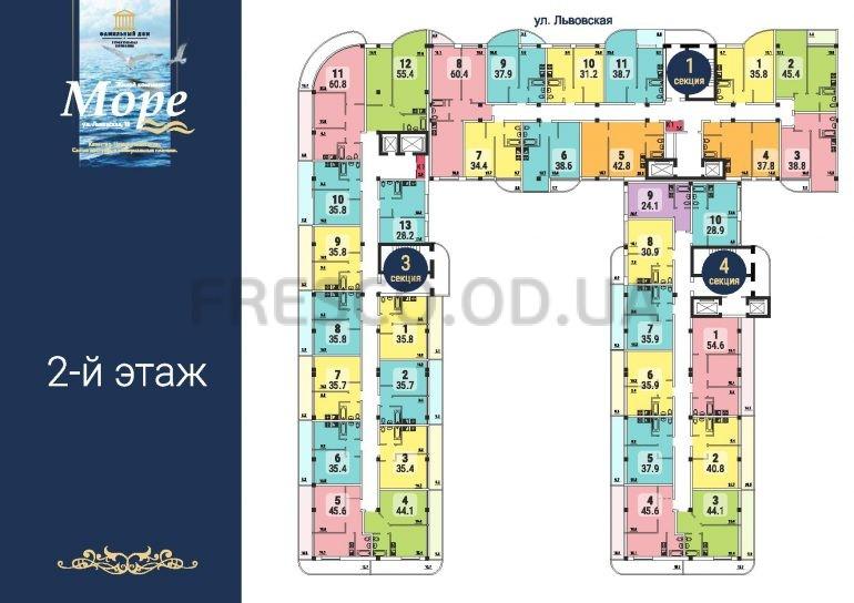 ЖК Море секции 1,3,4 план 2 этажа