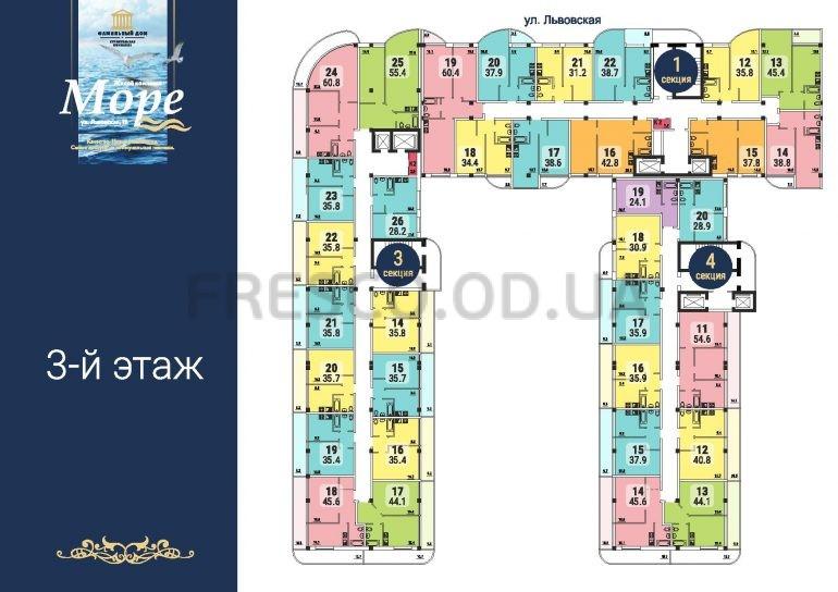 ЖК Море секции 1,3,4 план 3 этажа