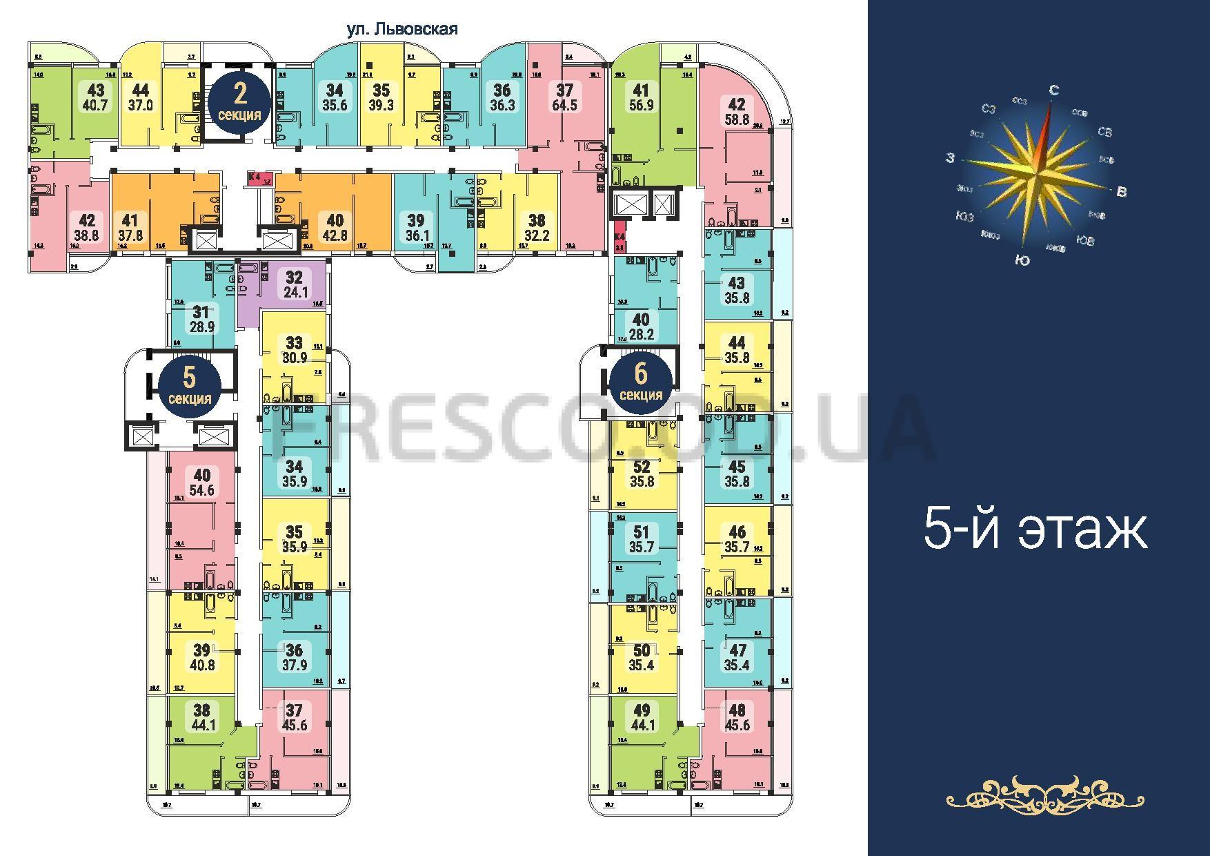 ЖК Море секции 2,5,6 план 5 этажа
