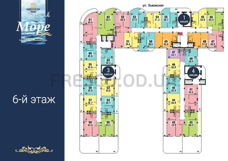 ЖК Море секции 1,3,4 план 6 этажа