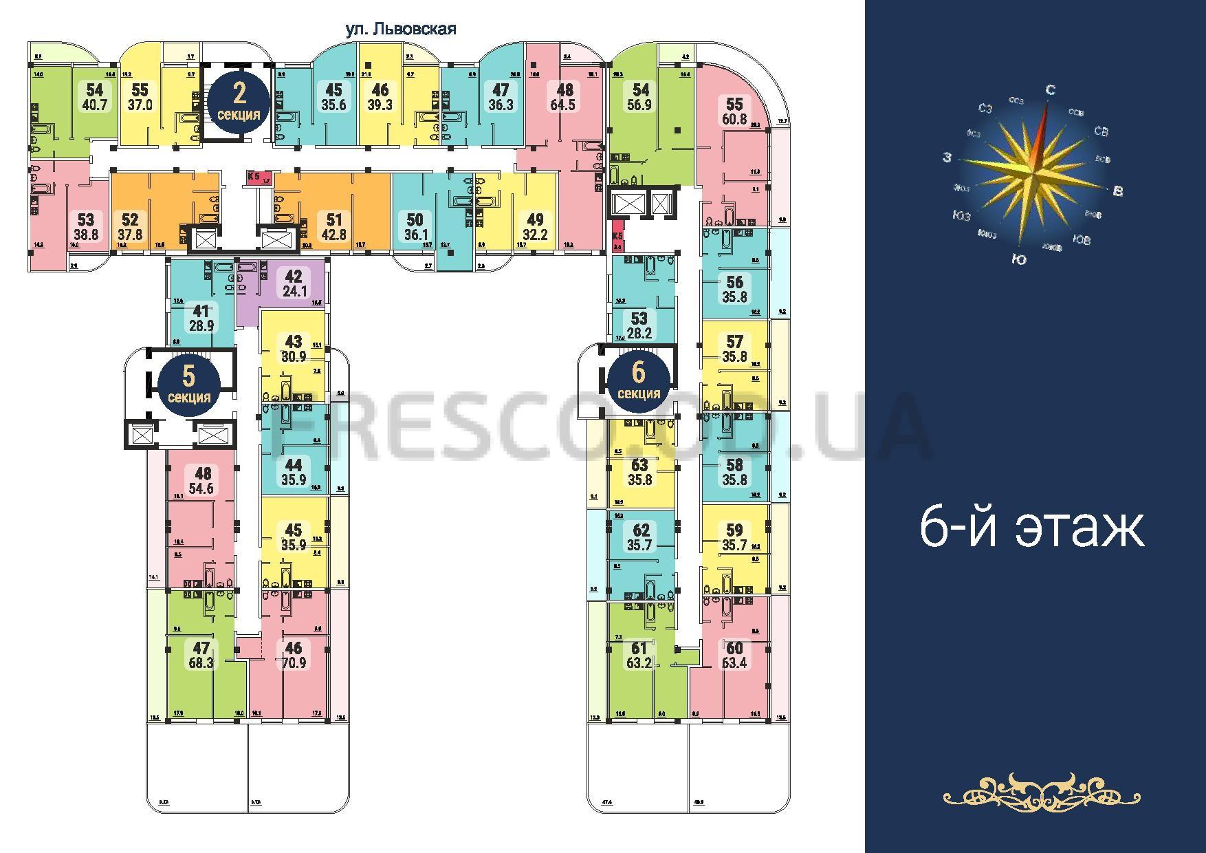 ЖК Море секции 2,5,6 план 6 этажа