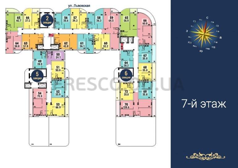 ЖК Море секции 2,5,6 план 7 этажа