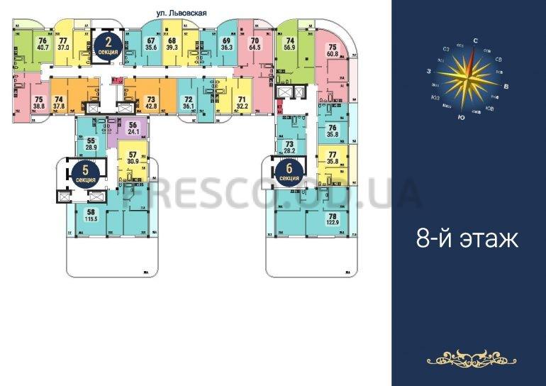 ЖК Море секции 2,5,6 план 8 этажа