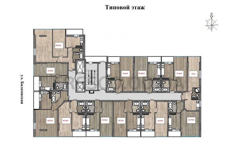 ЖК Клубный 7 типовой план этажа