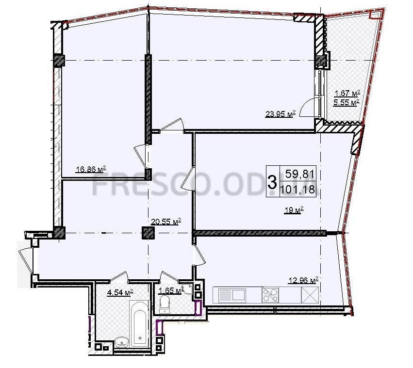 Трехкомнатная - ЖК Costa Fontana$146450Площадь:101m²