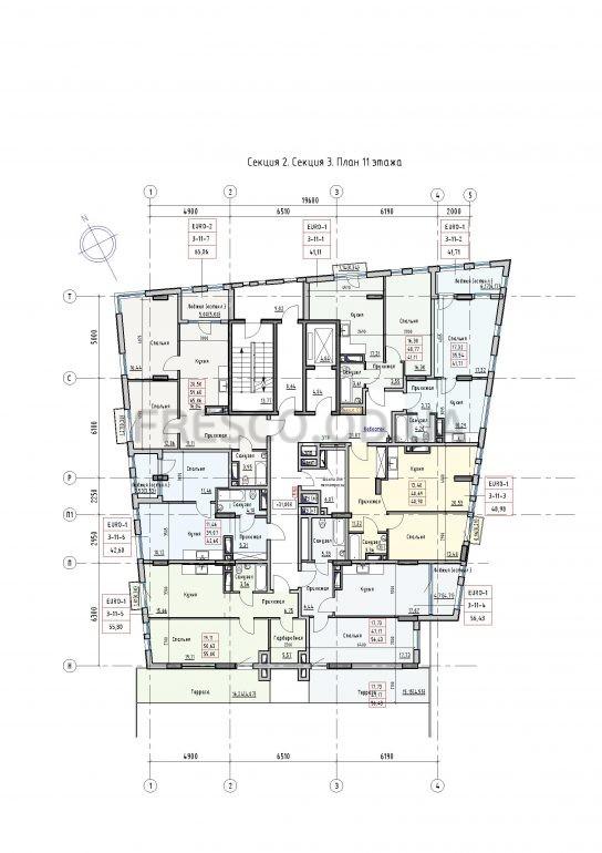 Пространство на Раскидайловской 2,3 секции план 11 этажа