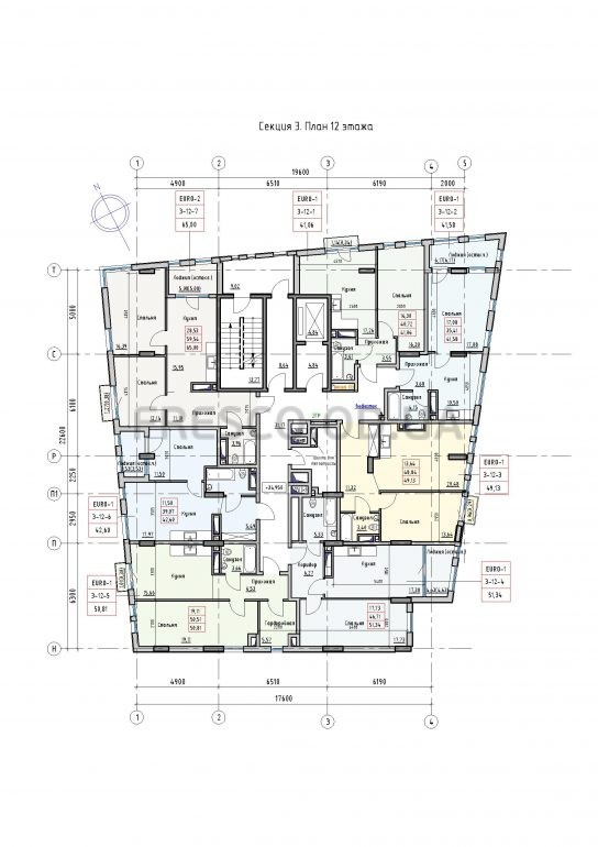 Пространство на Раскидайловской 2,3 секции план 12 этажа