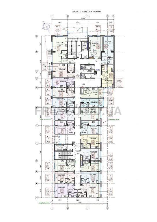 Пространство на Раскидайловской 2,3 секции план 1 этажа