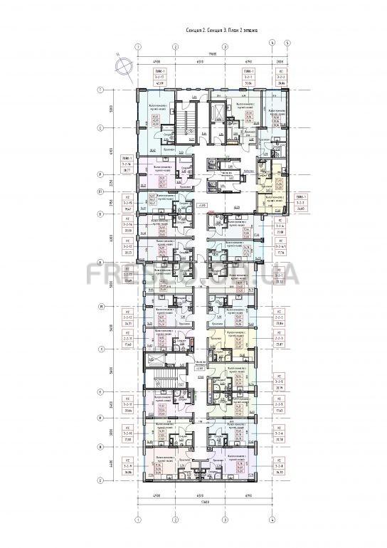 Пространство на Раскидайловской 2,3 секции план 2 этажа