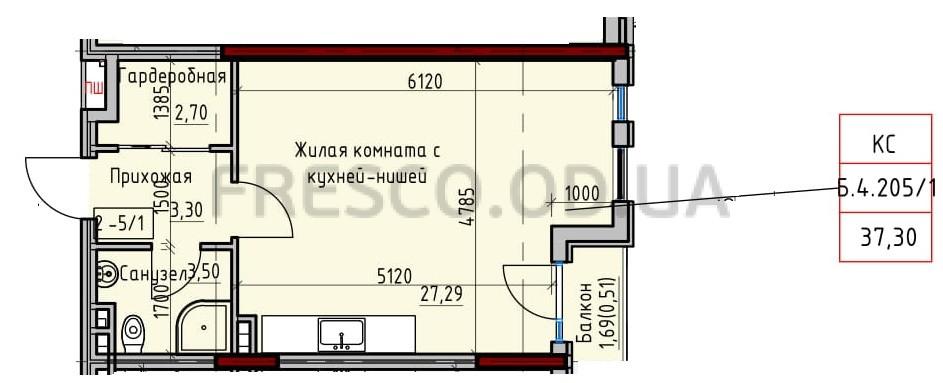 Однокомнатная - Пространство на Донского$36554Площадь:37,3m²