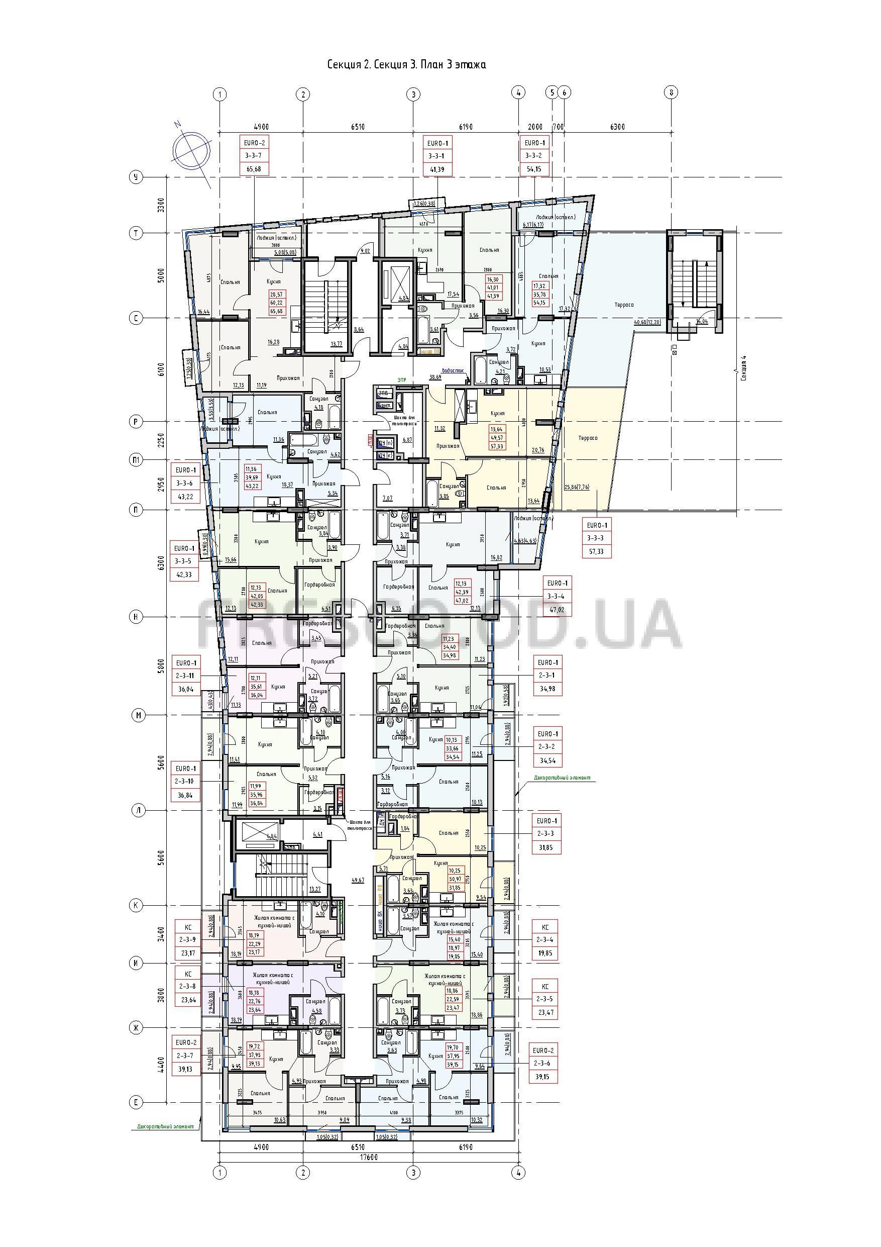 Пространство на Раскидайловской 2,3 секции план 3 этажа