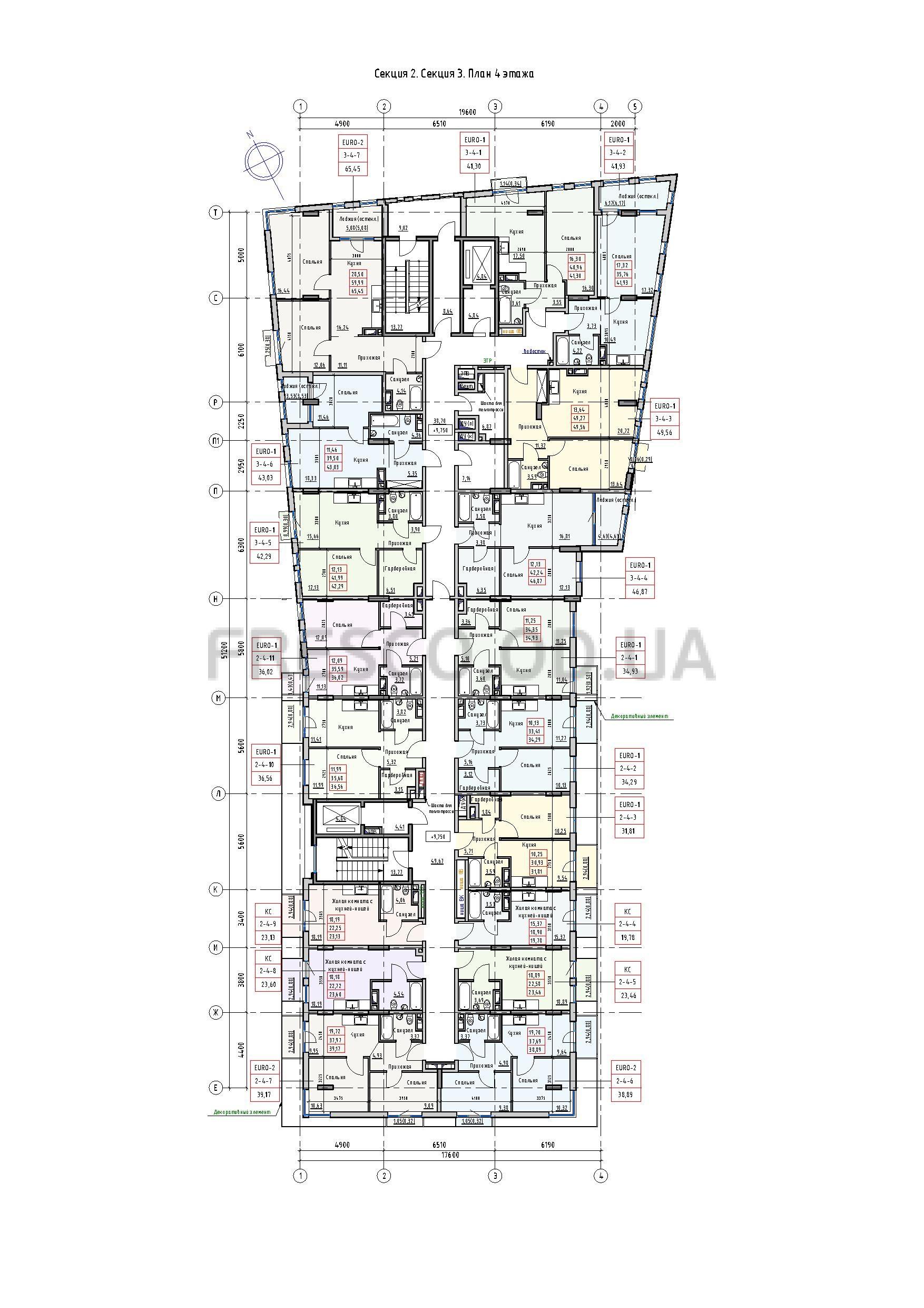 Пространство на Раскидайловской 2,3 секции план 4 этажа
